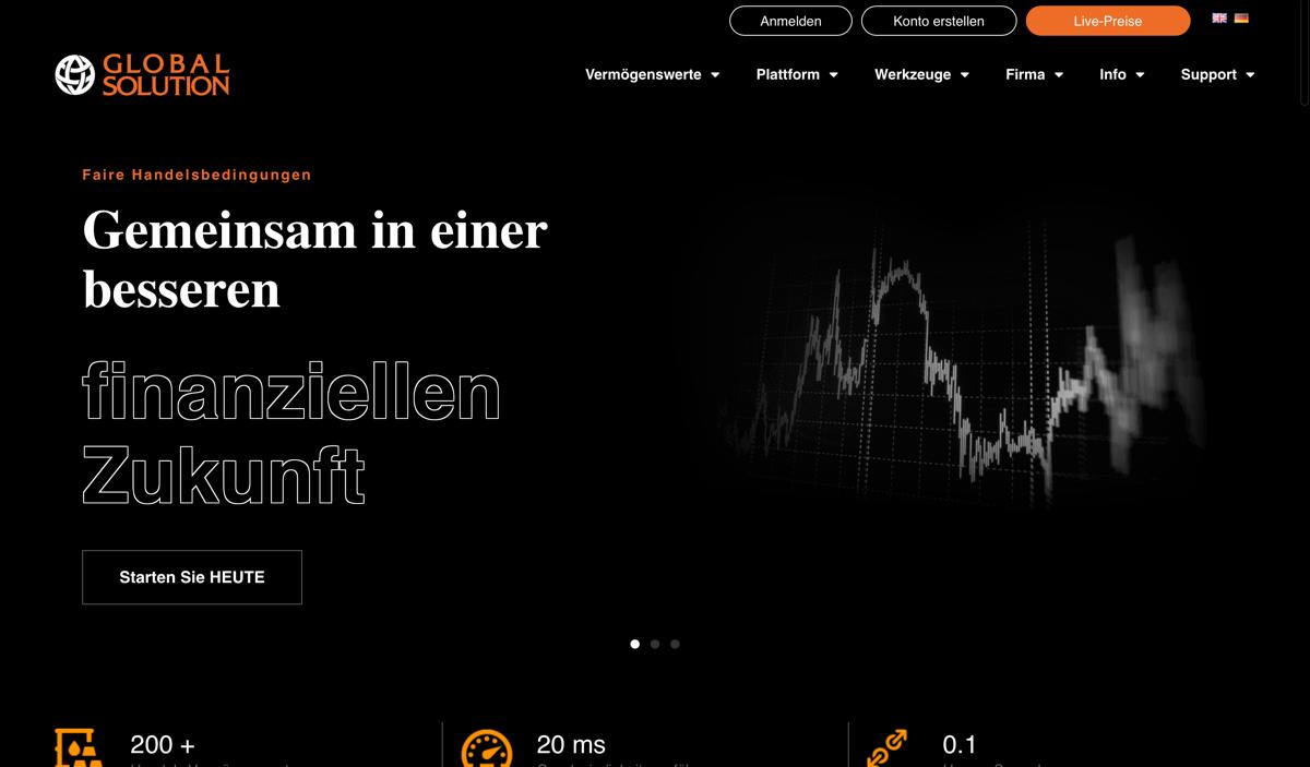 Alt Text: Die offizielle Homepage von Global Solution.