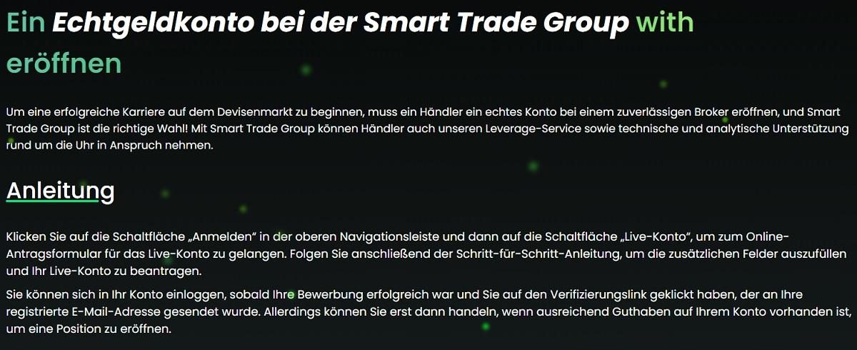 Smart Trade Group Optionen für die Erstellung eines Kontos