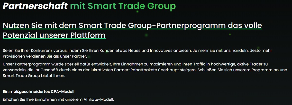 Smart Trade Group Programm für Affiliates
