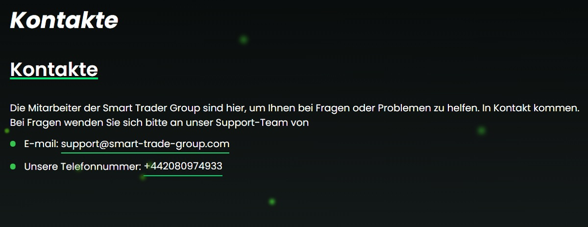 24/7 Kundenbetreuung Smart Trade Group