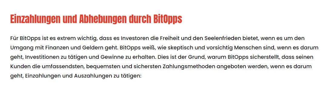 Einzahlungen und Abhebungen bei BitOpps
