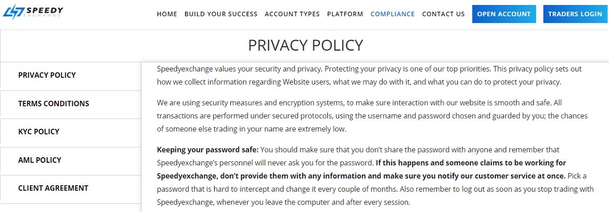 Speedy Exchange Privacy Policy